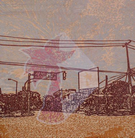 """Invasive Species, Stenciled wood stain on birch panel, 32"""" x 32"""" x 2.5"""", 2012"""