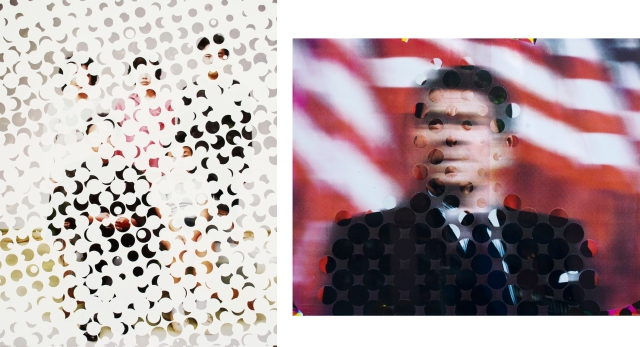 "Left: Untitled New Year, Silkscreen & Archival Photograph on Aluminum, 24"" x 30"", 2013 Right: Untitled Mask, Silkscreen & Archival Photograph on Aluminum, 24"" x 30"", 2013"