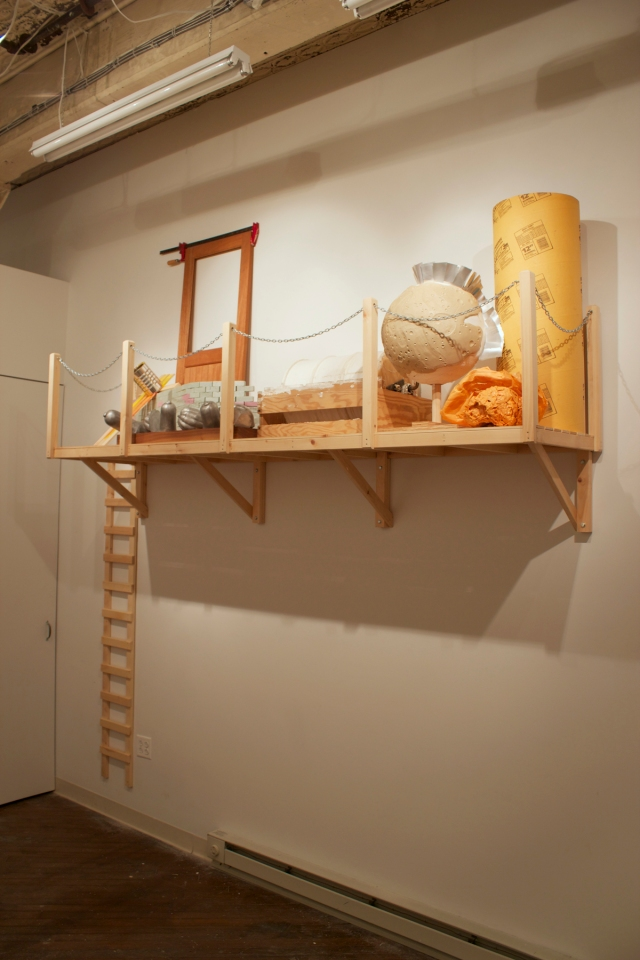 """The Loft (A Year's Unfinished Thoughts), 2012-2013 Pine, polystyrene foam, mahogany, walnut, aluminum, epoxy, cast urethane, oil clay and found objects.  120"""" x 96"""" x 24"""""""