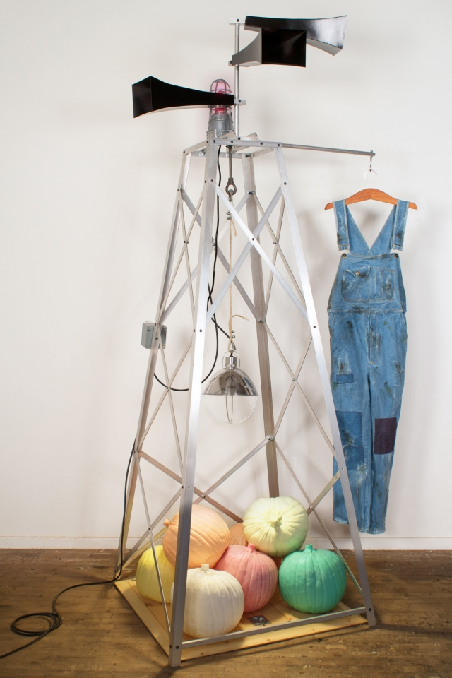 """Untitled (Bachelor Farmer Signal Tower) Aluminum, pine, denim, cast urethane, steel and electrical components 108"""" x 60"""" x 36"""""""