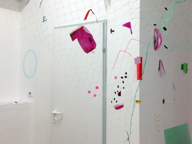 BEYOND OBJECT AND IMAGE, (detail of site-responsive installation in Salzburg, Austria), 2013. Materials: plastic net, paper, foil, tape, string, rope, ribbon, glass, pastel, paint and acrylic panel