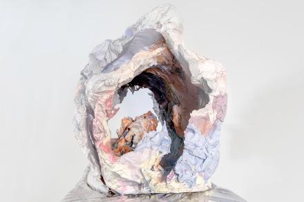 "Maggie Casey, Breaker, plaster, tin foil, foam, silk, vinyl, metal; 5' x 5' x 22"", 2014"