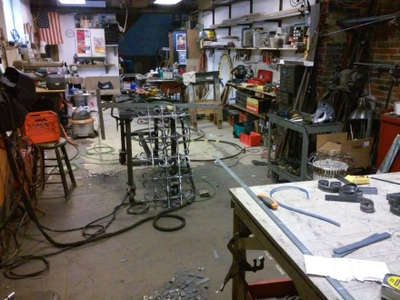 image of Daniel Petraitis' studio provided by the artist.