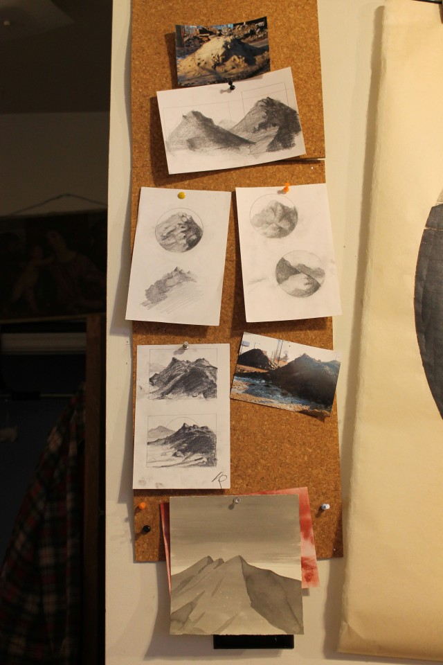 Wall of preparatory drawings and source material