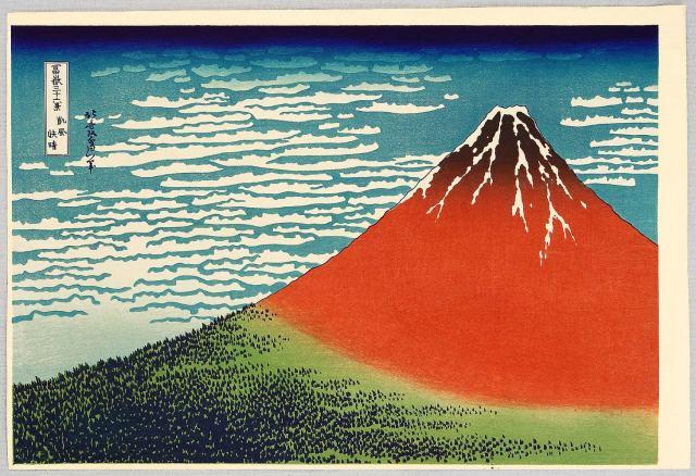 Katsushika Hokusai, Fuji in Clear Weather (Red Fuji), from the series Thirty-Six Views of Mount Fuji, ca. 1830–1832. Color woodcut