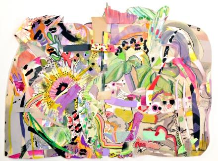 """Eyelash Shrimp, Elephant Ears (detail) 2016 Mixed media on cut paper, 22"""" x 17"""" x 2"""""""
